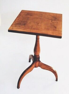 Antique Furniture Tiger Curly Maple Table Candlestand Federal Colonial American