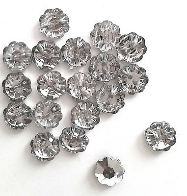 LOT 6 BOUTON FORME FLEUR STRASS A COUDRE COUTURE 13mm LAYETTE GILET TRICOT NEUF
