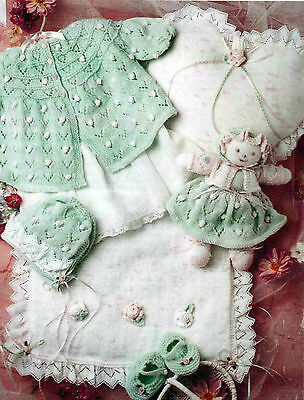 Knitting Pattern Bonnie Baby Girl Layette Doll Quilt Set In 4