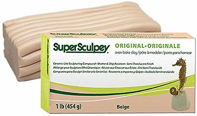 SUPER SCULPEY Polymer Clay Beige Flesh Sculpting 1 lb Crafts Dolls Faces