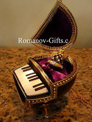 """GRAND PIANO Music box Egg with Black Faberge Egg Necklace Plays""""Fur Elise"""""""