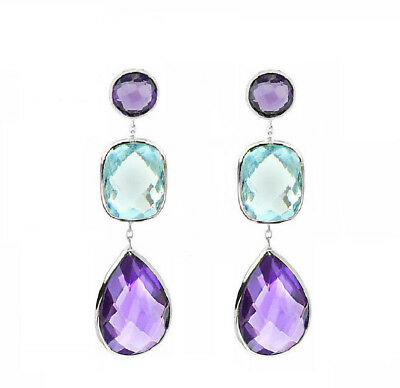 14K White Gold Earrings With Blue Topaz And Amethyst Gemstones