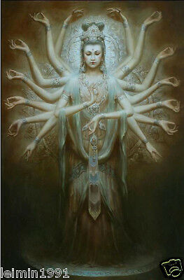 Oil painting Dunhuang fairy Kwan-yin Avalokitesvara Thousands Hands Guanyin 36""