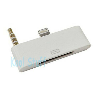8 Pin to 30 Pin 3.5mm Audio White Dock Adapter for iPhone 5 iPod 5