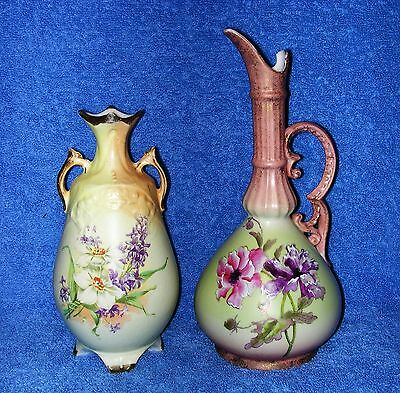 """Carlsbad, Austria - A 9¾"""" 'Hand Painted' Pitcher Ewer Plus A 7½"""" Bud Vase"""