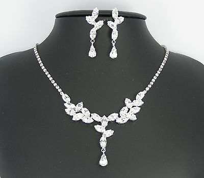 Collier + Boucles d'oreilles Strass Cristal Mariage Soirées Made in Italy