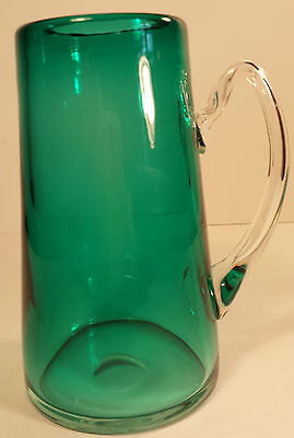 UNUSUAL CONTEMPORARY ART GLASS TANKARD / VASE GREEN WITH CLEAR HANDLE