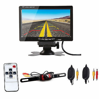 "7"" TFT LCD Car Rear View Backup Monitor+Wireless Parking Night Vision Camera Kit"