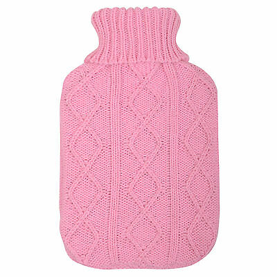 Natural Rubber Hot Water Bottle With Knitted Pink Arran Jumper Design Cover