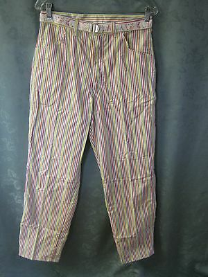 Vintage 80's Size 15 Wrangler High Waist Candy Stripe Carpenter Pants NWT