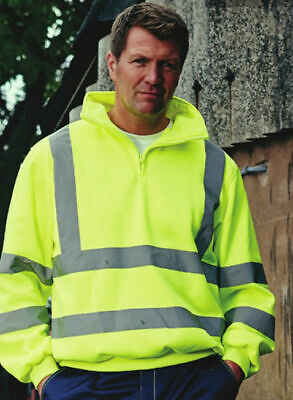 Yellow Hi Visibility Hoodie Class 3 Hoody Hi Viz Sweat Shirt Zip Collar EN471