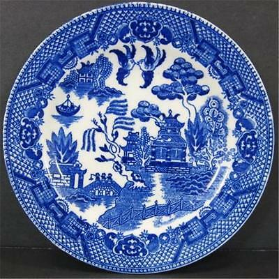 Japan Blue Willow Bread Butter Plate Black Stamp Blue White Transferware