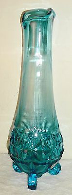 Large Mid Century Electric Blue Diamond Footed Stretch Floor Vase 16in Tall