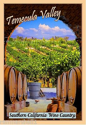 Temecula California Wine United States America Travel Advertisement Poster