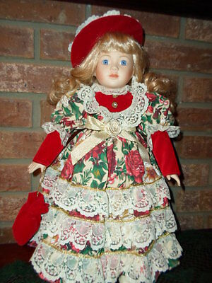 """TB TRADING CO. VICTORIAN 16"""" PORCELAIN DOLL W/STAND (GORGEOUS HAIR) EX.COND."""