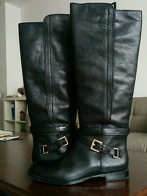 RETAIL $398 Coach Black Waxy Leather Tall Flat Monique Boots Size 8M