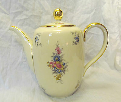 Hutschenreuther Germany Vintage Turvel Shape Multi Floral Coffee Pot with Lid