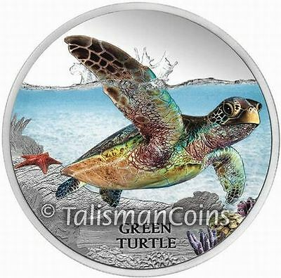 Tuvalu 2014 Endangered & Extinct #4 Green Sea Turtle $1 Pure Silver Color Proof