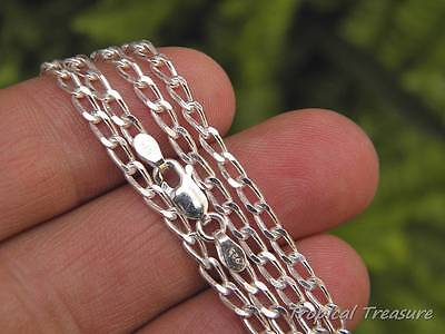 "3.0mm  LONG CURB Chain (16"" 40cm - 32"" 80cm) 925 SOLID Silver"