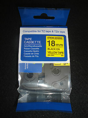 "1 BROTHER TZe S641 3/4"" BLACK PRINT ON YELLOW LABEL TAPE COMPATIBLE EXTRA STRONG"