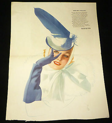 Original 1941 Vargas Pinup Girl GATEFOLD Print - From Bill With Love - Esquire