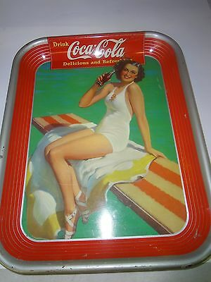 AUTHENTIC COKE COCA COLA 1939 GIRL  ADVERTISING TIN SERVING  TRAY  651-R