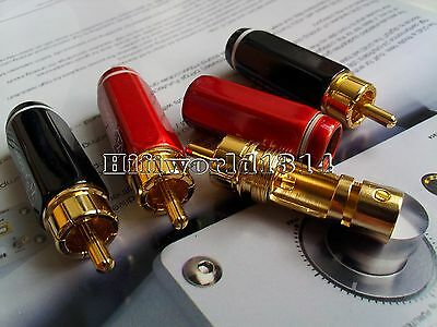 4x Eutectic cast brass Gold Plated RCA Connector Plug phono audio