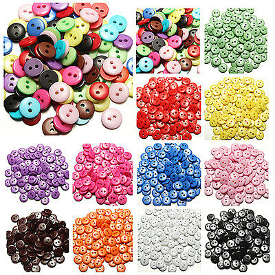 100~200 pcs Resin Buttons Mixed Colors Craft Scrapbook Sewing 8 mm 2 Holes Round