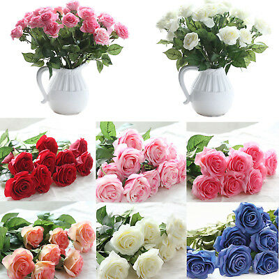 10/20/40/100 Heads Rose Flowers Bouquet Real Latex Touch For Wedding Home Decor