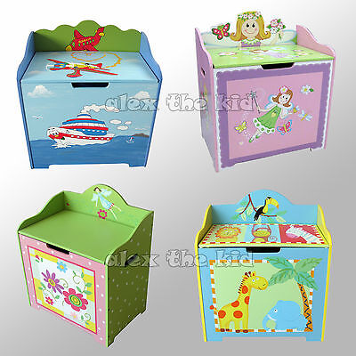 Wooden Childrens Toy Box Kids Storage 4 Styles