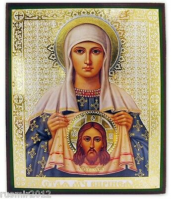 "ST VERONICA WITH VEIL Russian Wood Icon 6 1/4"" x 5"" Religious Icon"