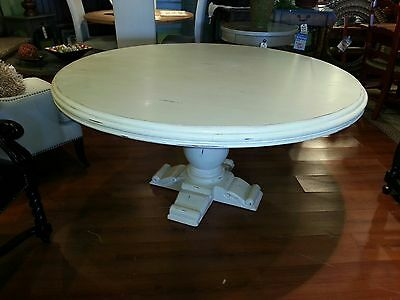 Country Wood 60 Round Mahogany White Distressed Pedestal Dining Table
