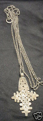Antique Rare Byzantine Silver Crucifix Rololink Chain Necklace