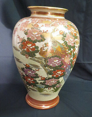 Vintage HUGE Satsuma Japanese Artist Signed Vase Floral Design & Peacock BEAUTY