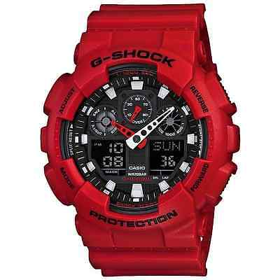 CASIO MEN WATCH X LARGE SERIES GSHOCK RED RESIN BAND WITH BLACK DIAL GA100B-4A