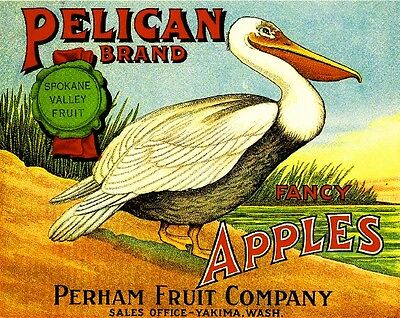 Yakima Washington Pelican Bird Apple Fruit Crate Label Art Print
