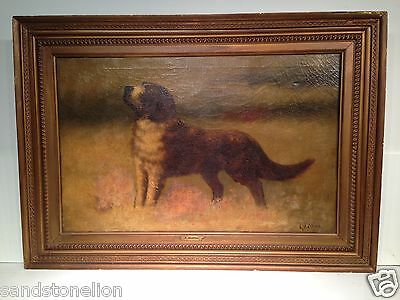 Antique Original 19TH Century English St.Bernard Dog Signed Oil Painting