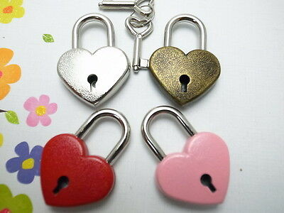Vintage Antique Style Mini Key Lock Heart Shaped(Assorted Color) Lot of 4