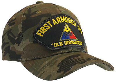 First 1st Armored Division Hat Camo Ball Cap US Army Old Ironsides