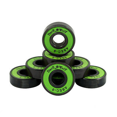 Dark Wolf Skateboard Bearings ABEC-9 Speed Stainless Green 8pcs with 4x Spacer