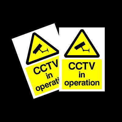 CCTV in Operation warning stickers *Pack of 2* 100x150mm A6 Sign - MISC11