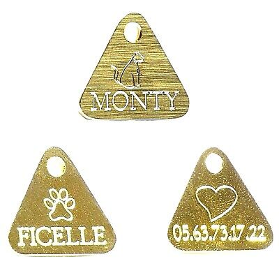 Médaille gravee Chat Chien lot de 3 Triangles en Laiton + image chat/patte/coeur