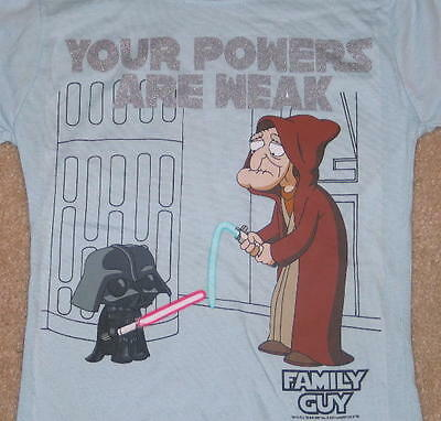 Family Guy Star Wars Powers Are Weak Baby Doll T-Shirt, Small, NEW UNWORN