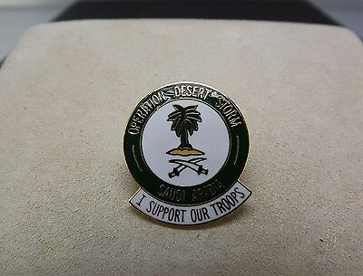 Enameled Operation Desert Storm Saudi Arabia I Support Our Troops Military Pin