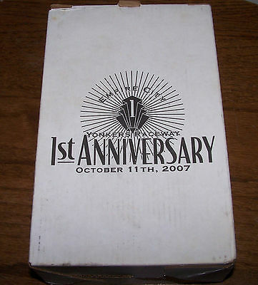 EMPIRE CITY YONKERS RACEWAY 1ST ANNIVERSARY TOASTING GLASS 10/11/2007 NEW IN BOX