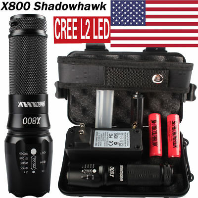 20000LM X800 Shadowhawk XM-L L2 LED Military*Tactical Flashlight 2x18650 Battery