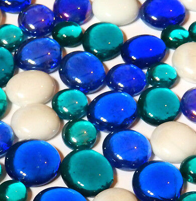 100 Glass Pebbles / Nuggets / Stones / Gems - Ice Cold
