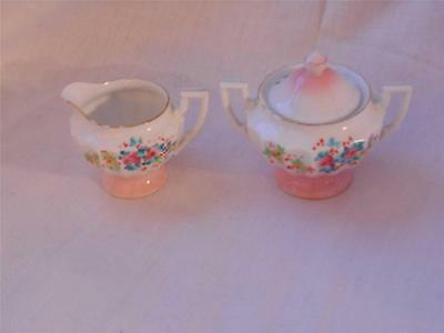 Childs Creamer and Sugar Handpainted Trimmed in Gold Vintage
