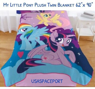 """Childs MY LITTLE PONY Twin Plush BLANKET 62x90"""" Bed Room Sparkle Twinkle Rainbow"""