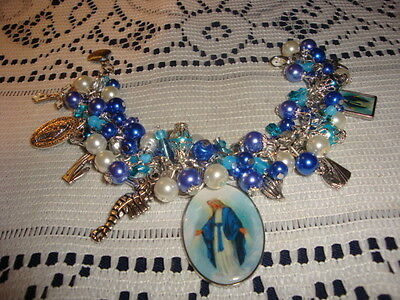 BRACELET RELIGIOUS CHARMS MEDALS CHUNKY BLUE VARIATION  DEDICATED VIRGIN MARY